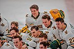 29 December 2018: Members of the University of Vermont Catamount Men's Ice Hockey Team celebrate and pose of a team, photo after a game against the Rensselaer Engineers at Gutterson Fieldhouse in Burlington, Vermont. The Catamounts rallied from a 2-0 deficit to defeat RPI 4-2 and win the annual Catamount Cup Tournament. Mandatory Credit: Ed Wolfstein Photo *** RAW (NEF) Image File Available ***