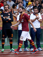 "Calcio: allenamento a porte aperte ""Open Day"" per la presentazione della Roma, a Roma, stadio Olimpico, 21 agosto 2013.<br /> AS Roma forward Mattia Destro attends the club's Open Day training session at Rome's Olympic stadium, 21 August 2013.<br /> UPDATE IMAGES PRESS/Isabella Bonotto"