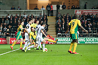 Thursday 24 October 2013  <br /> Pictured: Players fight for the ball in the box <br /> Re:UEFA Europa League, Swansea City FC vs Kuban Krasnodar,  at the Liberty Staduim Swansea