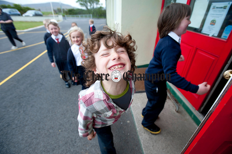 Elijah Marquez smiles for the camera at New Quay National School. Photograph by Declan Monaghan