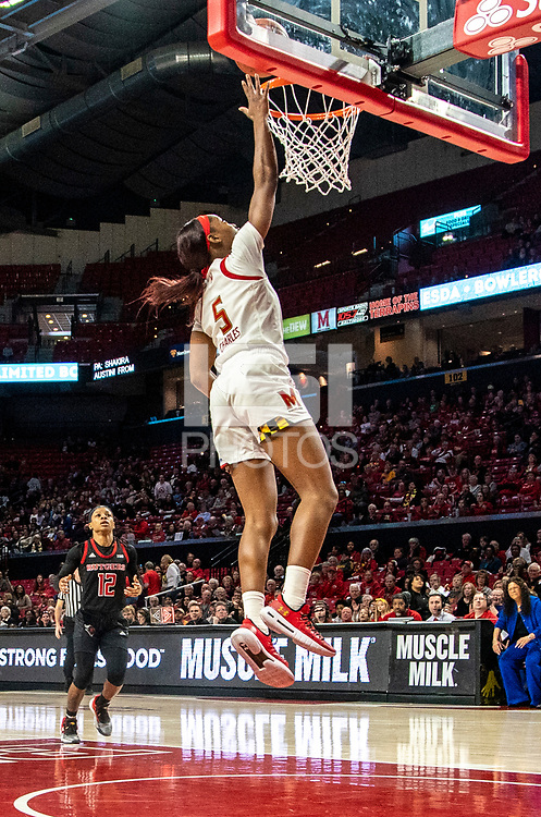 COLLEGE PARK, MD - FEBRUARY 9: Kaila Charles #5 of Maryland goes in alone for a basket during a game between Rutgers and Maryland at Xfinity Center on February 9, 2020 in College Park, Maryland.