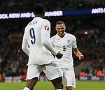 England's Kieran Gibbs celebrates with goalscorer Danny Welbeck<br /> <br /> - International European Qualifier - England vs Slovenia- Wembley Stadium - London - England - 15th November 2014  - Picture David Klein/Sportimage