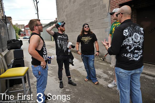 Jared Weeks and Eric Taylor of Saving Abel prior to concert at the Madison Theater in Covington, Kentucky.