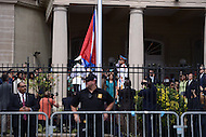 Washington, DC - July 20, 2015: Cuban officials raise the flag at the re-opened Embassy of Cuba July 20, 2015. The embassy reopened after the United States began normalizing diplomatic relations with Cuba. (Photo by Don Baxter/Media Images International)