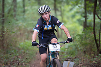 NWA Democrat-Gazette/J.T. WAMPLER Jacob Smithpeter competes Sunday Sept. 9, 2018 in the varsity boys race at a National Interscholastic Cycling Association race in Siloam Springs. Smithpeter finished second in the class.