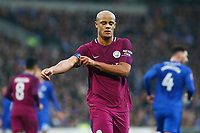 Vincent Kompany of Manchester City readjusts his captains armband during the Fly Emirates FA Cup Fourth Round match between Cardiff City and Manchester City at the Cardiff City Stadium, Wales, UK. Sunday 28 January 2018