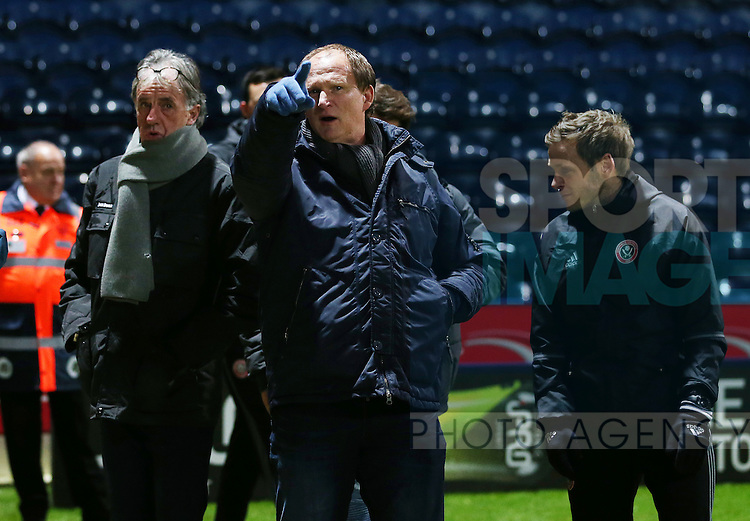Mark Lawrenson and Preston North End manager Simon Grayso attend the FA Youth Cup 3rd Round match at Deepdale Stadium, Preston. Picture date: November 30th, 2016. Pic Matt McNulty/Sportimage