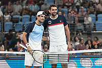 8th January 2020; Sydney Olympic Park Tennis Centre, Sydney, New South Wales, Australia; ATP Cup Australia, Sydney, Day 6; Croatia versus Argentina; Marin Cilic of Croatia versus Guido Pella of Argentina; Guido Pella of Argentina and Marin Cilic of Croatia pose for a photo before the match - Editorial Use