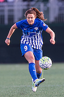 Allston, MA - Sunday, April 24, 2016: Boston Breakers forward Stephanie McCaffrey (9). The Boston Breakers play Seattle Reign during a regular season NSWL match at Harvard University.