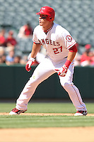 09/13/12 Anaheim, CA: Los Angeles Angels center fielder Mike Trout #27 during an MLB game played between the oakland Athletics and Los Angeles Angels at Angel Stadium. The Angels defeated the A's 6-0.