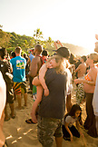 USA, Hawaii, Oahu, The North Shore, people watching the awards ceremony at the Eddie Aikau surf competition, Waimea Bay