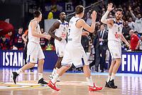 Real Madrid's Jonas Maciulis, Othello Hunter, Luka Doncic and Rudy Fernandez during Turkish Airlines Euroleague match between Real Madrid and CSKA Moscow at Wizink Center in Madrid, Spain. January 06, 2017. (ALTERPHOTOS/BorjaB.Hojas)