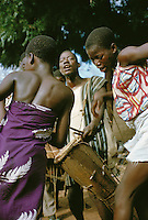 Girls of Bobo tribe dancing to the sound of drums and balafon xylophone in Koumbia Burkina Faso Africa.