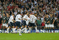 England players celebrate John Terry's goal that put England up 1-0 in the first half. The United States Men's National Team lost to England 2-0 in an international friendly at Wembley Stadium, London, England. May 28, 2008.