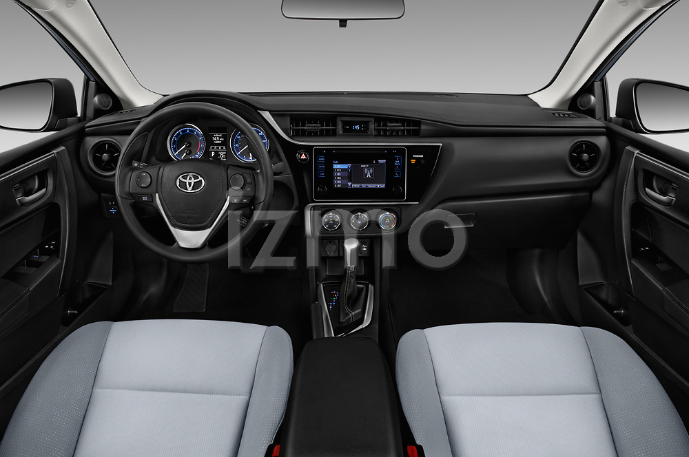 Stock photo of straight dashboard view of a 2017 Toyota Corolla L 4 Door Sedan