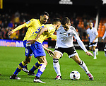 Valencia CF's  Jose Gaya and UD Las Palmas' Momo and Culio during spanish King's Cup match. January 21, 2016. (ALTERPHOTOS/Javier Comos)