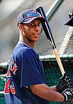 4 September 2009: Cleveland Indians' rookie outfielder Michael Brantley awaits his turn in the batting cage prior to a game against the Minnesota Twins at Progressive Field in Cleveland, Ohio. The Indians defeated the Twins 5-2 to take the first game of their three-game weekend series. Mandatory Credit: Ed Wolfstein Photo