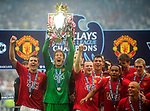 Manchester United's Edwin van der Sar lifts the FA Premier League Trophy during the Premier League match at The JJB Stadium, Wigan. Picture date 11th May 2008. Picture credit should read: Simon Bellis/Sportimage