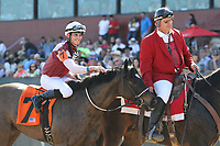 HOT SPRINGS, AR - March 18: Streamline #7 and jockey Chris Landeros are escorted back to the winners' circle after winning the Azeri Stakes at Oaklawn Park on March 18, 2017 in Hot Springs, AR. (Photo by Ciara Bowen/Eclipse Sportswire/Getty Images)