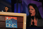 Maya Sotero-Ng, the half-sister of Barack Obama, speaks at the Democratic National Convention at the Pepsi Center in Denver, Colorado on August 25, 2008.