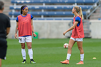 Bridgeview, IL - Sunday August 20, 2017: Sydney Leroux Dwyer, Katie Bowen during a regular season National Women's Soccer League (NWSL) match between the Chicago Red Stars and FC Kansas City at Toyota Park. KC Kansas City won 3-1.