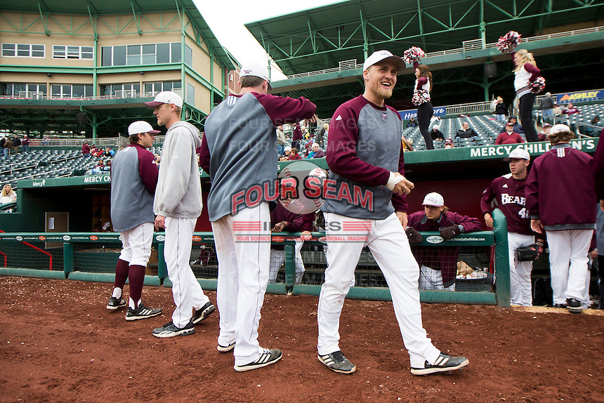 Members of the Missouri State Bears stand outside the dugout prior to a game against the Wichita State Shockers at Hammons Field on May 5, 2013 in Springfield, Missouri. (David Welker/Four Seam Images)