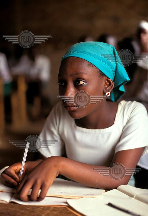 School girl in class.