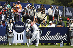 JEJU, SOUTH KOREA - APRIL 25:  Thongchai Jaidee of Thailand tees off on the 10th hole during the Round Three of the Ballantine's Championship at Pinx Golf Club on April 25, 2010 in Jeju, South Korea. Photo by Victor Fraile / The Power of Sport Images