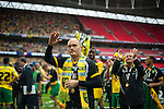 Norwich City 2 Middlesbrough 0, 25/05/2015. Wembley Stadium, Championship Play Off Final. Alex Neil celebrates. A match worth £120m to the victors. On the day Norwich City secured an instant return to the Premier League with victory over Middlesbrough in front of 85,656. Photo by Simon Gill.
