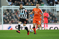 Javi Manquillo of Newcastle United battles with James Collins of Luton Town during Newcastle United vs Luton Town, Emirates FA Cup Football at St. James' Park on 6th January 2018