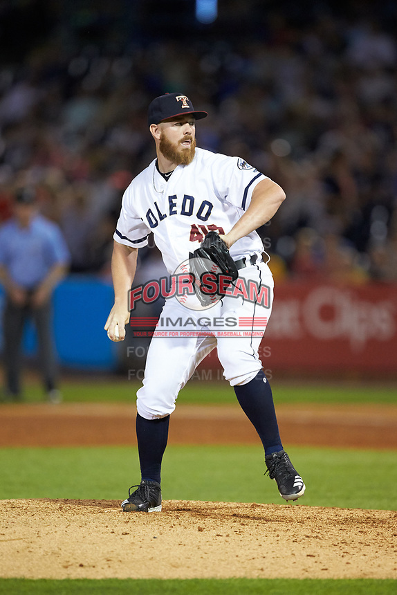 Toledo Mud Hens relief pitcher Johnny Barbato (50) in action against the Louisville Bats at Fifth Third Field on June 16, 2018 in Toledo, Ohio. The Mud Hens defeated the Bats 7-4.  (Brian Westerholt/Four Seam Images)