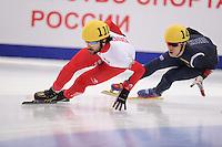 "SHORT TRACK: MOSCOW: Speed Skating Centre ""Krylatskoe"", 15-03-2015, ISU World Short Track Speed Skating Championships 2015, Quarterfinals 1000m Men, Charles HAMELIN (#110 | CAN), Da Woon SIN (#144 | KOR), ©photo Martin de Jong"