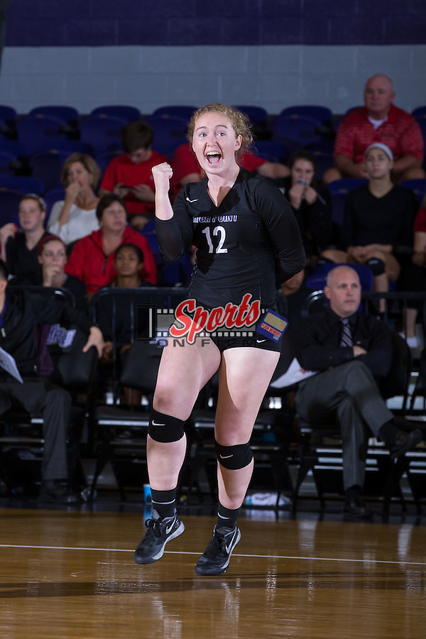 Greta Griswold (12) of the High Point Panthers celebrates after her team scored a point against the Marshall Thundering Herd at the Panther Invitational at the Millis Athletic Center on September 12, 2015 in High Point, North Carolina.  The Thundering Herd defeated the Panthers 3-2.   (Brian Westerholt/Sports On Film)