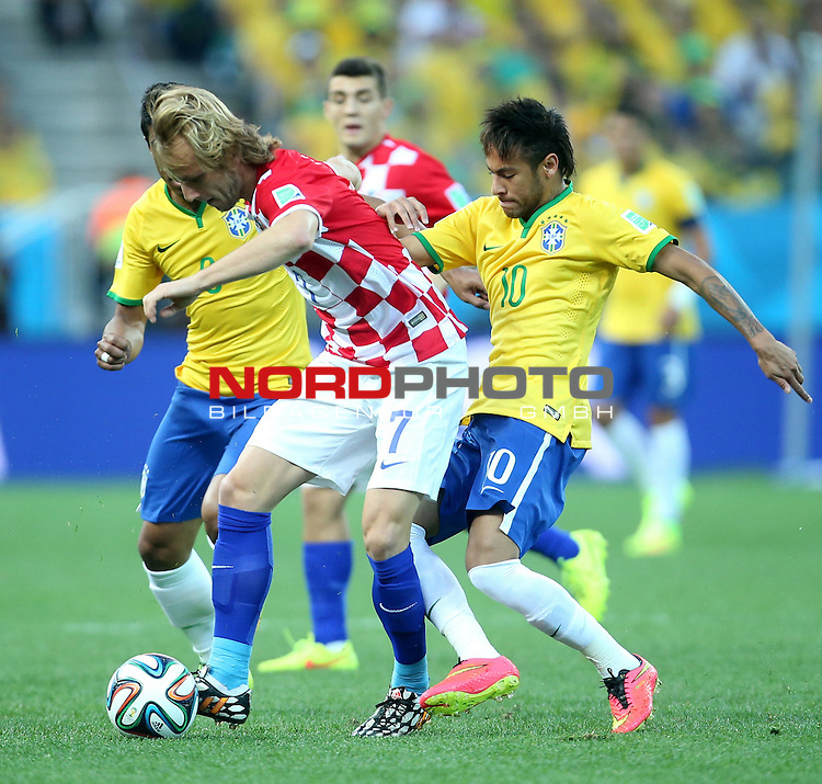 2014 Fifa World Cup opening game from group A against Brazil and Croatia.<br /> Ivan Rakitic, Neymar Jr<br /> <br /> Foto &copy;  nph / PIXSELL / Sajin Strukic