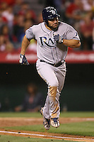 06/08/11 Anaheim, CA: Tampa Bay Rays designated hitter Johnny Damon #22 during an MLB game between the Tampa Bay Rays and The Los Angeles Angels  played at Angel Stadium. The Rays defeated the Angels 4-3 in 10 innings