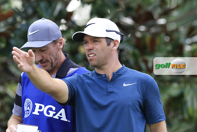 Paul Casey (ENG) and John Mclaren on the 15th tee during Thursday's Round 1 of the 2017 PGA Championship held at Quail Hollow Golf Club, Charlotte, North Carolina, USA. 10th August 2017.<br /> Picture: Eoin Clarke | Golffile<br /> <br /> <br /> All photos usage must carry mandatory copyright credit (&copy; Golffile | Eoin Clarke)
