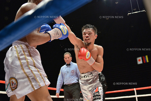 (R-L) Kohei Kono (JPN), Liborio Solis (VEN),<br /> MAY 6, 2013 - Boxing :<br /> Kohei Kono of Japan in action against Liborio Solis of Venezuela in the ninth round during the WBA super flyweight title bout at Ota-City General Gymnasium in Tokyo, Japan. (Photo by Hiroaki Yamaguchi/AFLO)