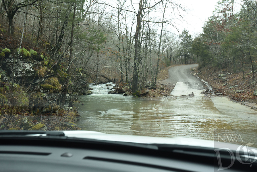 NWA Democrat-Gazette/FLIP PUTTHOFF<br />A low-water bridge along Forest Road 1205 warrants      Feb. 23 2018     caution before crossing after substantial rain.
