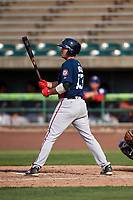 Potomac Nationals third baseman Jake Noll (13) at bat during the first game of a doubleheader against the Lynchburg Hillcats on June 9, 2018 at Calvin Falwell Field in Lynchburg, Virginia.  Lynchburg defeated Potomac 5-3.  (Mike Janes/Four Seam Images)