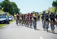 Team SKY in-race deliveries: Chris Froome (GBR/SKY) getting handed his food by Geraint Thomas (GBR/SKY) during stage 16 from Morain-en-Montagne to Bern (SUI) / 209km<br /> <br /> 103rd Tour de France 2016