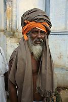 Holy man on pilgrimage for Kartik Purnima (eight full moon of the year) to bath in Pushkars sacred lake Rajastan, India