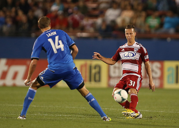 FRISCO, TX: Michel #31 of FC Dallas in action against the San Jose Earthquakes at FC Dallas Stadium in Frisco, Texas on May 25,2013 (Photo Rick Yeatts)