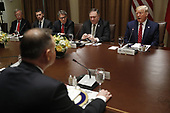 Polish President Andrzej Duda (B) and  (L-R) US National Security Advisor John, Bolton, Acting US Secretary of Homeland Security Kevin McAleenan, US Secretary of Energy Rick Perry, US Secretary of State Mike Pompeo and US President Donald J. Trump during a luncheon in the cabinet room of the White House in Washington, DC, USA, 12 June 2019. Later in the day President Trump and President Duda will participate in a signing ceremony to increase military to military cooperation including the purchase of F-35 fighter jets and an increased US troop presence in Poland. <br /> Credit: Shawn Thew / Pool via CNP