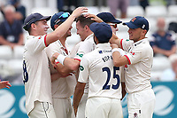 Peter Siddle of Essex celebrates with his team mates after taking the wicket of James Hildreth during Essex CCC vs Somerset CCC, Specsavers County Championship Division 1 Cricket at The Cloudfm County Ground on 25th June 2019