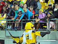 Captain Hurricane entertains fans during the Super Rugby match between the Hurricanes and Reds at Westpac Stadium, Wellington, New Zealand on Saturday, 14 May 2016. Photo: Dave Lintott / lintottphoto.co.nz