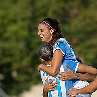 Boston, MA - Saturday August 19, 2017: Alex Morgan during a regular season National Women's Soccer League (NWSL) match between the Boston Breakers (blue) and the Orlando Pride (white/light blue) at Jordan Field. Orlando Pride defeated Boston Breakers, 2-1.Goal celebration.