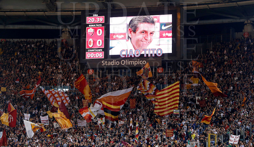 Calcio, Serie A: Roma vs Milan. Roma, stadio Olimpico, 25 aprile 2014.<br /> The scorebord shows a picture of Barcelona's former coach Tito Villanova, who died for a cancer at 45, prior to the start of the Italian Serie A football match between AS Roma and AC Milan at Rome's Olympic stadium, 25 April 2014.<br /> UPDATE IMAGES PRESS/Riccardo De Luca