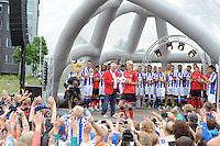 VOETBAL: ABE LENSTRA STADION: HEERENVEEN: 05-07-2014, Open dag SC Heerenveen, De selectie tijdens het voorstellen aan het publiek, Morten Thorsby, ©foto Martin de Jong