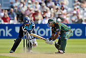 CB40 Cricket - Notts Outlaws V Scottish Saltires - Trent Bridge Nottingham - the end for Notts (and England) batsman Samit Patel bowled Goudie after making 82 off 76 balls - Saltires keeper is Craig Wallace - 21.7.12 - 07702 319 738 - clanmacleod@btinternet.com - www.donald-macleod.com
