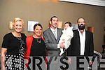 CHRISTENING: Baby Isa Noonan, Kenmare, who was christened in the Holy Cross Church, Kenmare, by Fr Liam Lovell on Saturday pictured here with her parents Jerry and Andra and godparents John McAleer and Shelley Getgate at the celebrations afterwards in the Brook Lane Hotel, Kenmare.